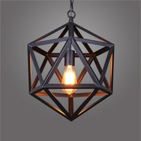 ball engineering - American country vintage wrought iron chandelier industrial wind polyhedral creative engineering LOFT ball diamond pendant lamp