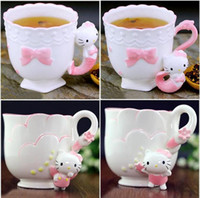 animal tea cup - Princess Ceramic Cup Mermaid KT Mug Cup Tea Cups Cute Animal Painted Ceramic Coffee Mug Milk Mug Gift design LJJK448