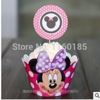Wholesale estive Party Supplies Event Party Supplies Pink Minnie Mouse cupcake wrapper amp toppers picks decoration girls birthday party supp