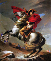 Wholesale Napoleon Crossing the Alps on Gray Horse Hand painted Portrait Art oil painting canvas For Wall decor in any size customized