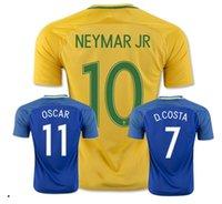 2016 camiseta de fútbol del Brasil Tailandia de la calidad camisa del fútbol 2017 de NEYMAR JR con ropa deportiva azul amarillo ET-6103 de manga corta de los hombres de descanso