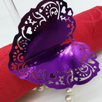 Cheap 240pcs Laser Cut Hollow Heart Paper Card Napkin Ring Serviette Buckle Holder Hotel Wedding Party Favour Decoration