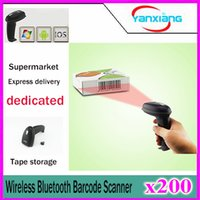 Wholesale 200pcs Bluetooth USB Wireless Laser Barcode Reader Scanner with Flash Memory support IOS Android Windows YX SM