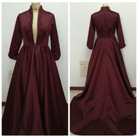 Wholesale Real Photo Burgundy Satin Wedding Dresses Embroidery Paolo Sebastian Dresses Custom Made Beaded Bridal Dresses Plunging V Neck Ball Gowns