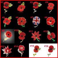 american national flag - 28 Types Crystal Heart Flower Poppy National Flag Union Jack Brooches Pins The British Legion Brooch Corsages for UK Remembrance Day