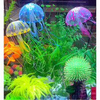 Wholesale 5 quot Glowing Effect Artificial Jellyfish Fish Tank Aquarium Decora Ornament Cool R571