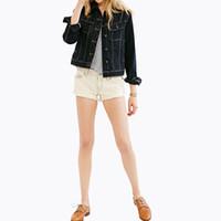 Precio de Solo botón abrigos negros-Chaqueta Ocasional Mujer Denim chaqueta de abrigo manga larga polo cuello de la tira Poacket solo botón delgado Negro mujer Jeans Chaqueta