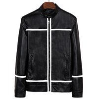 Wholesale Fall Fashion Leather Jacket and coat Men Motorcycle Short Style Overcoat Stripe Casual High Quality Chaqueta Hombre MXA0152