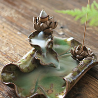 Wholesale Porcelain Lotus leaf Backflow Smoke Incense Burner Holder Colored Cones Sticks Sandalwood Censer with Cones Free Z00D609