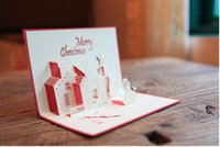 Wholesale Handmade Castle Christmas Greeting Cards Good Christmas Gift Postcard Birthday Blessing for family friends free ship