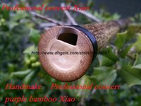 bamboo flute parts - LQP009 three parts Traditional Handmade Professional concert grade purple Bamboo flute Xiao By Master Luo qipei
