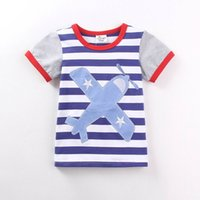 Wholesale 2016 Summer New Boy Cartoon T shirts Plane Stripe Cotton Fashion Short Sleeve T shirts Children Clothing T