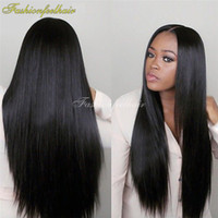 Wholesale DHL Free Silk Straight Natural Black Long Synthetic Lace Front Wig B Color Heat Resistant Synthetic Lace Hair Wigs