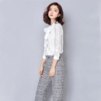 beauty city - Womens Blouses Chiffon Flare Long Sleeve Fashion City Beauty Bow Shirts Lapel Neck Three Color AS001