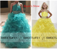 beautiful child models - Real Image One Shoulder Yellow Girl s Pageant Dresses Beads Tiered Sweep Train Princess Beautiful Children Dress Ball Gown Pageant Gown