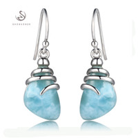 Wholesale 925 sterling silver Larimar Earrings Shinning S Explosion models The new product Noble Generous Recommend Promotion Favourite Vintage