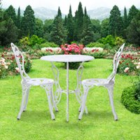 aluminum cafe chairs - IKAYAA Modern Outdoor Patio Garden Bistro Set Furniture Rose Design Iron Aluminum Porch Balcony Cafe Table Chair Set US STOCK H16813