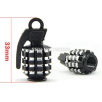Wholesale 2Pairs Black Grenade Car Truck Motorcycle Bicycle Aluminum Wheel Tire Air Valve Stem Cap Covers Set Tire Wheel Valve Caps New