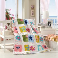 bedding comforter sham - Pretty Flower and Bownot Printed Summer Quilt Kid Cotton Blanket Twin Full Queen Size Bedcover bed sham air condition quilt