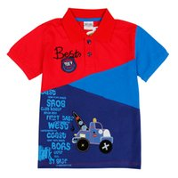 Wholesale 2016 Summer New Baby Boys Cartoon Red Blue Shirt Short Sleeve T shirt Kids Children Clothing Fashion Childs Cotton England Classic Suit
