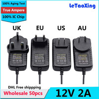 Wholesale 50pcs AC DC V A Power Adapter Supply Transformer mm x mm W UK US AU EU Plug With IC Chip DHL