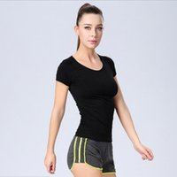 Wholesale 2016 New factory Ladies sports T shirt short sleeved sweat wicking running fitness yoga T shirt tops
