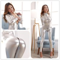 Wholesale Sliver Sexy Underwear All coating light high elastic collar zipper crotch appeal glue packets of tights