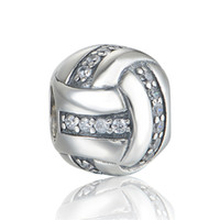 silver - Volleyball sports charms S925 sterling silver fits for european pandora style charms bracelets high heel shoes X385H6
