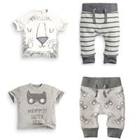 animal face t shirts - New Arrivals Boy s Children s Suit Clothing Sets Round Neck T Shirt Trousers Lions Face Patterns Cotton Blends Fashion KA514