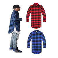 Wholesale Mens Fashion Shirts Design Long Sleeve Men Hip Hop Shirts Red Black Plaid Shirts Q6401