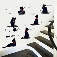 bathroom decor cats - 100pcs AY7157 lovely cats playing wall stickers kids room decor home decals kitten animals mural art cartoon d diy pvc