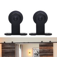 Wholesale Modern European T Style Barn Wood Double Sliding Door Hardware Track Set Ft m Black