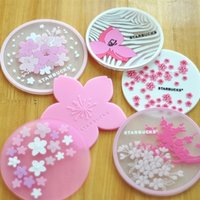 Wholesale 20pcs Sakura Pink Silicone Cup Mats Coffee Coaster Placemats Round Table Insulation Mug Pads Starbuck Pattern Kitchen Supplies