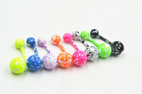Wholesale 100pcs Surgical Steel Andonized Colorful Navel Belly Ring Bar Navel Ring Button Barbells Piercing G