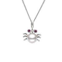 Cute Crab Pendentif en argent massif avec perle d'eau douce naturelle, Lovely Animal Gift Jewelry Wholesale - PS03877