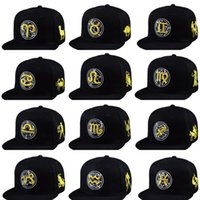 Wholesale men and women Baseball Cap Snapback Constellation Hip Hop Adjustable Hat Gold Zodiac