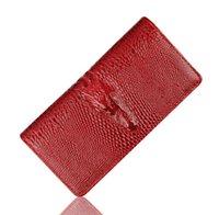 Mujeres de la manera del monedero de la cartera de patentes de los cocodrilos de las señoras de cuero larga sección titulares de tarjeta de embrague de las carpetas marca el envío libre femenino