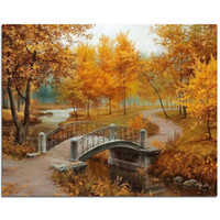 Wholesale new full Diy diamond painting kit D cross stitch Square Diamond embroidery Autumn Scenic Brudge Diamond Mosaic Crafts ZX