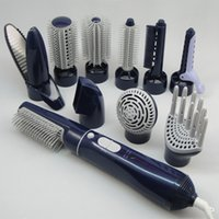 Precio de Inicio peinado del cabello-Mejor 10-en-1 multifunción profesional Secador de pelo eléctrico secador de pelo rizador Styling cepillo peine enderezador difusor para uso doméstico