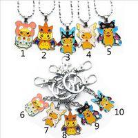 Wholesale Poke pokémon go Metal Keychain necklace toys Style Children Zinic Alloy Poke Ball Pikachu Charmander Bulbasaur keyring B