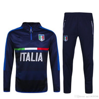 Wholesale 2017 Survetement football Italy tracksuit italia training suit kits Soccer Chandal italian training shinny tight pants sweater shirt