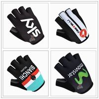 Wholesale 2016 Sky Caste lli Bian chi And Movistar Road Bicycle Black White Half Finger Unisex Road Mountain Cycling Protective Gear Hand Gloves M XL