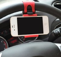 Wholesale for iphone S plus S S Universal Car Steering Wheel Cradle Holder SMART Clip Car Bike Mount for Mobile Cell Phone GPS