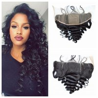 Wholesale 13x4 Mongolian Loose Wave Human Hair Silk Frontal Closure With Baby Hair Unprocessed Human Hair Silk Lace Frontal Bleached Knots