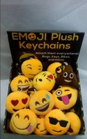 Wholesale QQ Emoji Plush Pendant Key Chain Fashion Emoji Smile Emothion Yellow Cute Expression Plush Dolls Cartoon Plush Pendant Car Chain