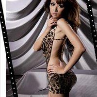 Cheap Wholesale-Women's Sexy Leopard One Piece Dress Lingerie V-neck Halter Backless Sleepwear