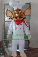 baker clothing - Competent Brown Cook Mouse Chef Rat Kitchener Mice Baker Mascot Costume Cartoon Character Mascotte Adult White Clothes ZZ983 FS