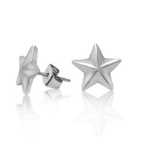 Silver angle alphabet - Vintage Five angle star synthetic diamond new hot sale stainless steel Ear nail punk rock men jewelry Fast shipping STE1