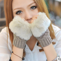 Wholesale Women s Gloves Fall Winter Women s Guide refers to version of winter warm arm sets of long paragraph wool semi finger gloves