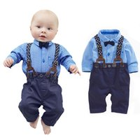 baby boy designer clothing - 2 Piece set Babyb Boy Plaid Clothes Set Shirt Suspender Trousers Clothing Set Fashion Baby Suits Designer Baby Clothes FF032